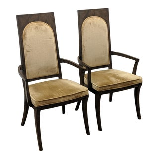 1970s Mid Century Mastercraft Amboyna Burl Dining Arm Chairs- A Pair For Sale