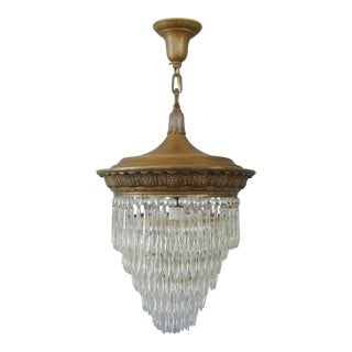 Antique Brass French Empire Crystal Chandelier