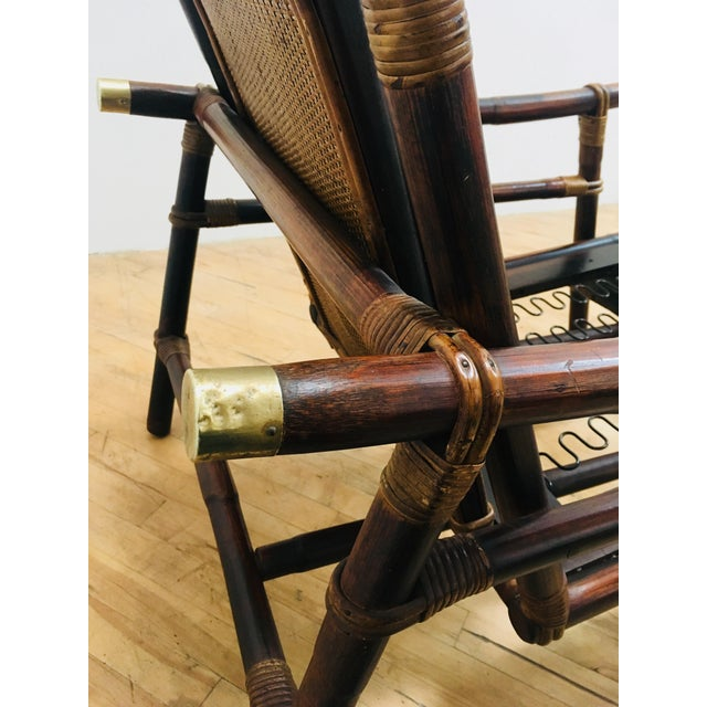 Authentic Signed Ficks Reed Rattan Campaign Chair- 1954 For Sale - Image 9 of 13