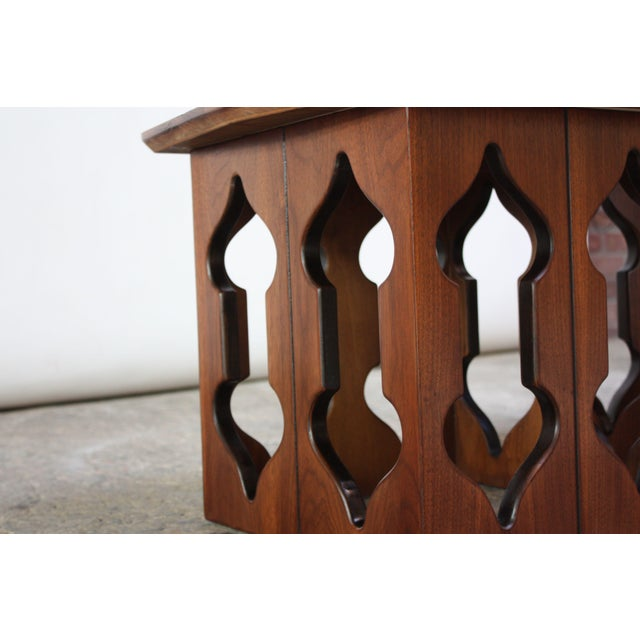 Pair of Vintage Moorish Style Walnut Side Tables with Carved Decoration For Sale In New York - Image 6 of 12