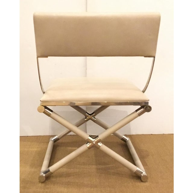 Caracole Caracole Mid-Century Modern Style Cream Leather and Nickel Accent Chair For Sale - Image 4 of 6