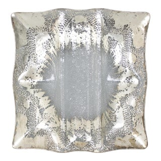 Dorothy Thorpe Glass Serving Tray Platter Silver Mid Century Starburst For Sale