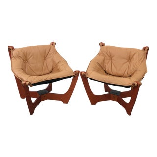 Mid-Century Odd Knutsen Luna Chairs in Tan Leather-A Pair For Sale