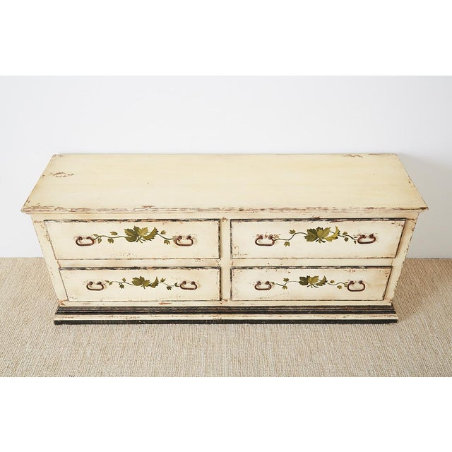 Country Italian Painted Four-Drawer Commode or Sideboard For Sale - Image 4 of 13
