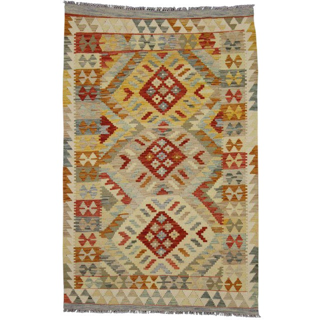 20th Century Boho Chic Afghani Shirvan Kilim Rug With Tribal Style For Sale