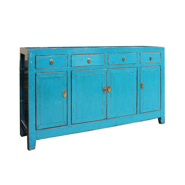 2010s Chinese Distressed Rustic Blue Sideboard Buffet Table Cabinet For Sale - Image 5 of 8