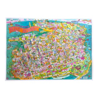 """Key West """" the Conch Republic """" Rare Vintage 1985 Ron Baeza Illustrated Map Travel Poster For Sale"""