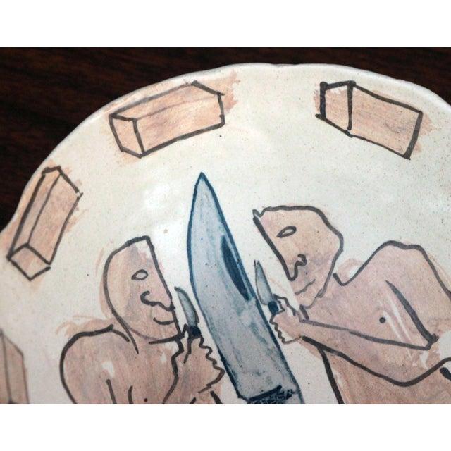 Figurative Vintage Marilyn Andrews Massachusetts Folk Art Art Pottery Bowl For Sale - Image 3 of 6