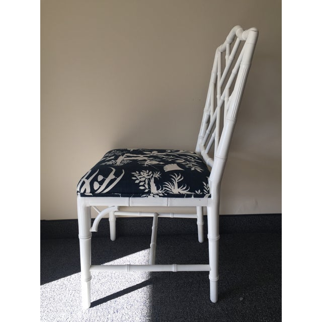 Chippendale White Bamboo Chairs - Set of 4 - Image 6 of 8