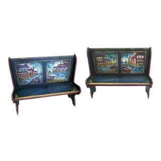 Peter Hunt Hand-Painted & Signed Benches - A Pair