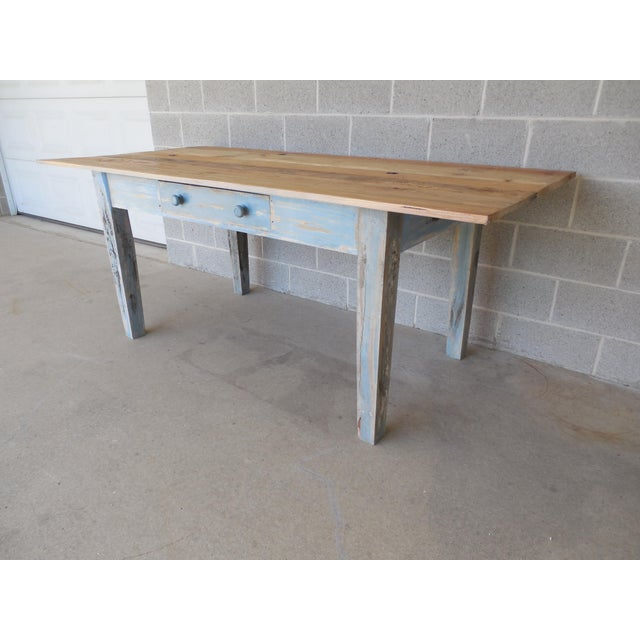 Reclaimed Thin Board Rustic Farm Dining Table - Image 5 of 8