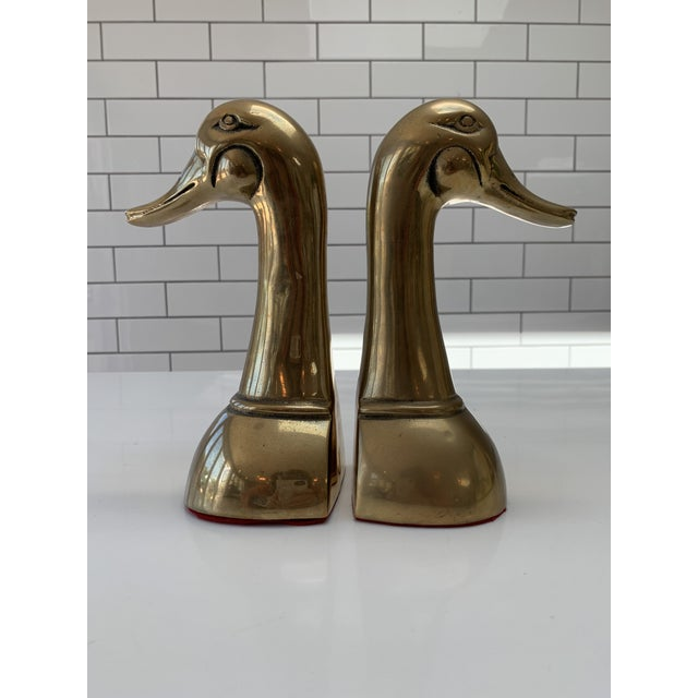 Brass Vintage Mid Century Modern Oversized Brass Mallard Duck Bookends - a Pair For Sale - Image 8 of 8