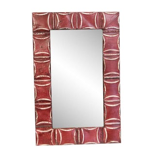 Red Squares Tin Panel Mirror For Sale