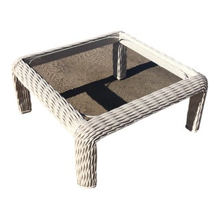 1980's White Braided Wicker W/Glass Coffee Table For Sale