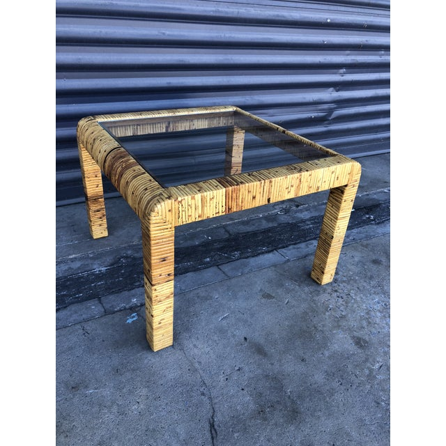 Vintage Wrapped Rattan Square Side Table For Sale - Image 11 of 11