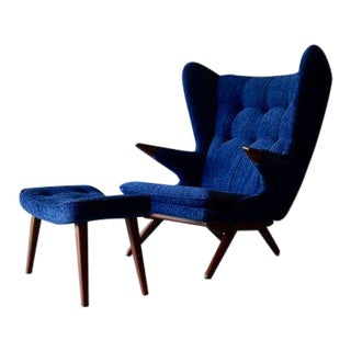 Papa Bear Styled Mid Century Modern Teak Armchair + Ottoman For Sale