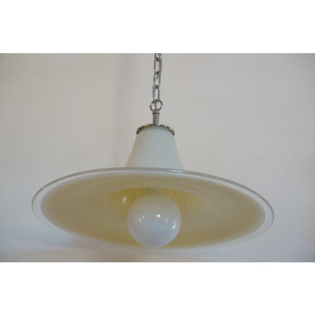 Murano Vintage Vetri Murano Glass Pendant Chandelier With Chrome Hardware For Sale - Image 4 of 12