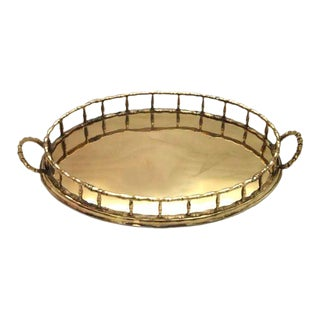 Brass Faux Bamboo Oval Tray