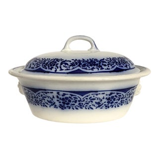 French Luneville Flow Blue Tureen