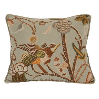 A Pillow of Crewel Work on Linen With Velvet Backing For Sale