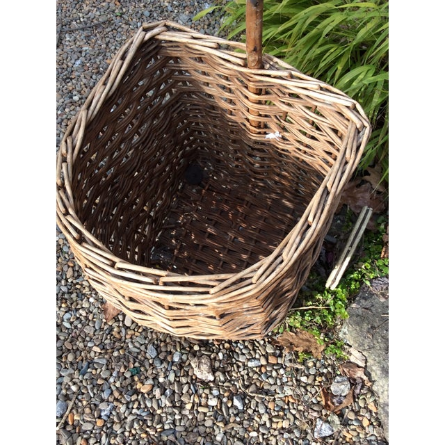 Vintage French Woven Shopping Cart on Wheels For Sale - Image 9 of 12