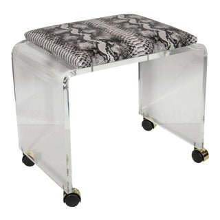 Mid-Century Modernist Waterfall Form Lucite Stool with Faux Python Upholstery For Sale