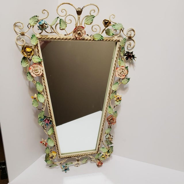 Metal Vintage Italian Shabby Chic Floral Tole Wall Mirror For Sale - Image 7 of 10