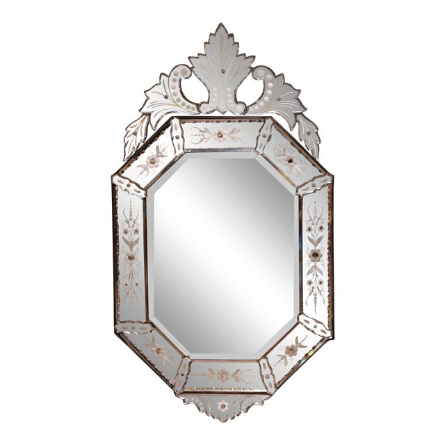 Image of Early 20th Century Italian Octagonal Venetian Mirror With Painted Floral Etching