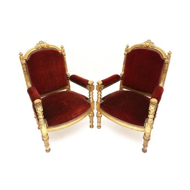 Giltwood and Velvet Classical Armchairs For Sale - Image 4 of 7