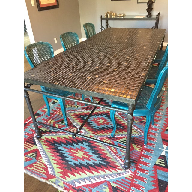 Iron & Mosaic Dining Set - Table & 6 Chairs - Image 5 of 8