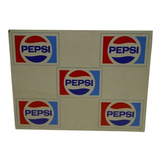 C. 1970 Cardboard Pepsi Advertising Sign For Sale