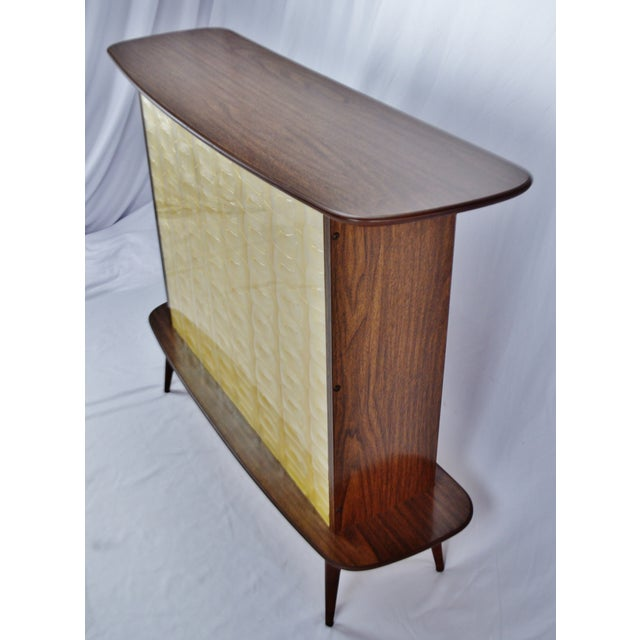 Mid-Century Modern Mid Century Modern Walnut Formica & Faux Mother of Pearl Dry Bar For Sale - Image 3 of 13