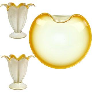 Murano White Orange Gold Flecks Italian Art Glass Flower Candlesticks Bowl Set For Sale