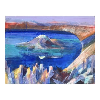 """1980s Patricia Zippin """"Mountain in the Lake"""" Mixed Media Landscape For Sale"""