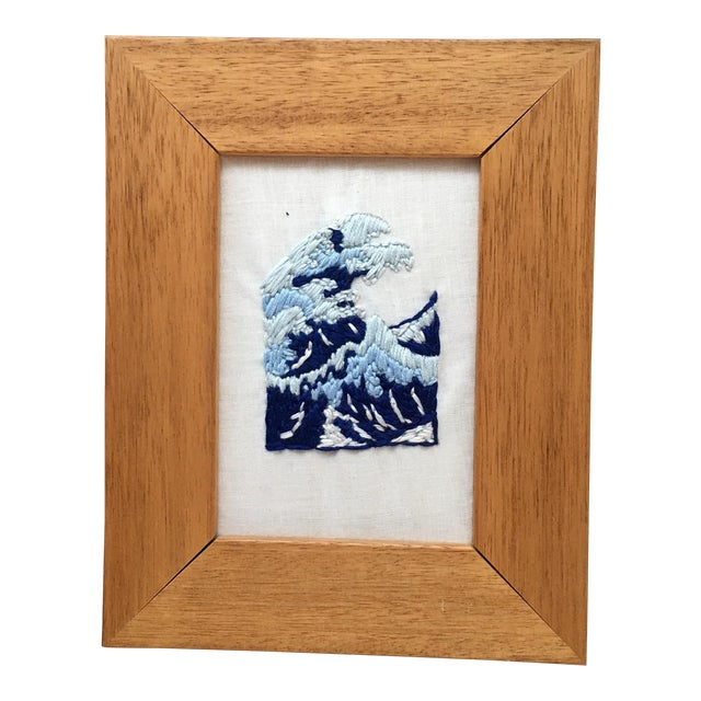 Japanese Wave Hand Embroidered Art in Wooden Frame - Image 1 of 4