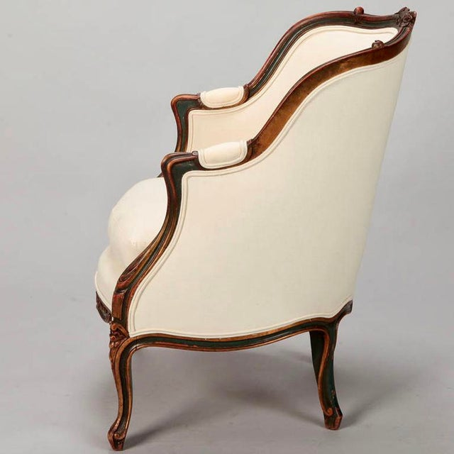 20th Century Finely Carved French Louis XV Style Bergere Armchair For Sale In Detroit - Image 6 of 10