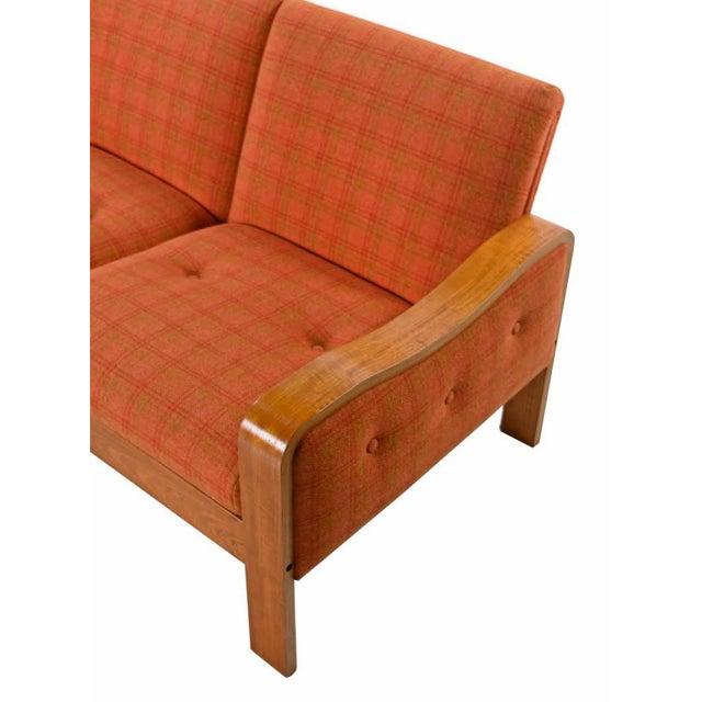 Vintage Original Scandinavian Bent Teak Plaid Wool Upholstered Sofa Couch, 1970s For Sale - Image 4 of 7