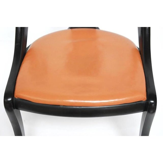Set of Four Mid-Century Black Lacquer Dining Chairs - Image 5 of 10