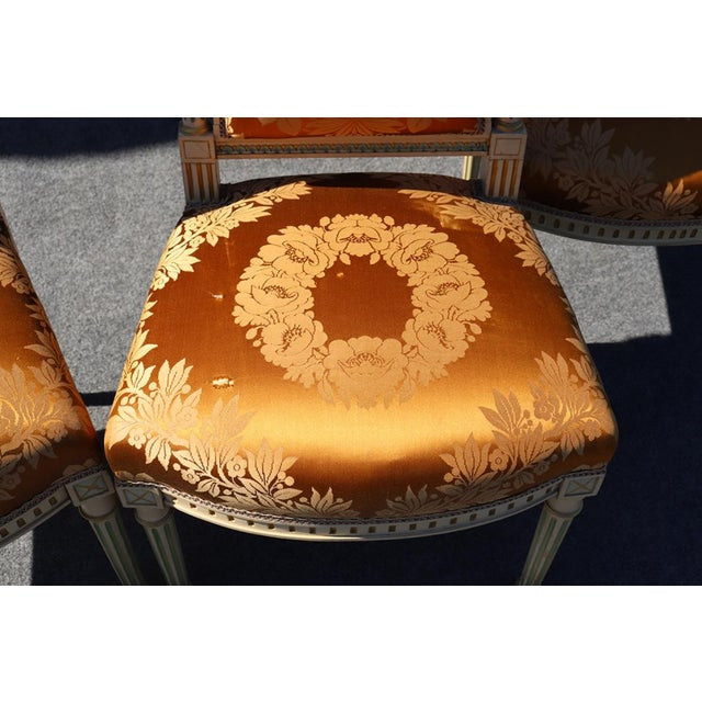 Maison Jansen Set of 4 Maison Jansen Louis XVI Style Paint Decorated Silk Side Dining Chairs For Sale - Image 4 of 9