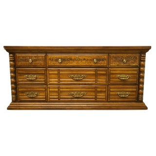 20th Century Country Broyhill Furniture Oak Triple Dresser For Sale