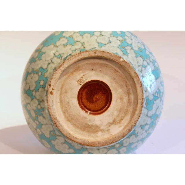 Ceramic Japanese Studio Porcelain Antique Old Crystalline Sky Blue Hu Form Vase For Sale - Image 7 of 12
