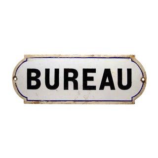 French Bureau Black & White Enamel Office Sign For Sale