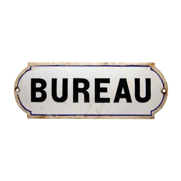 French Bureau Black & White Enamel Office Sign - Image 1 of 3