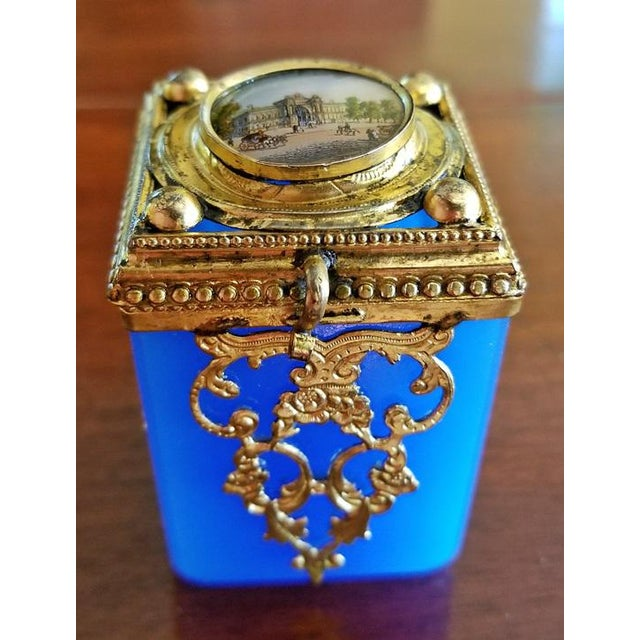 19c Continental Turquoise Glass Box With Miniature of Palace Scene For Sale - Image 4 of 8