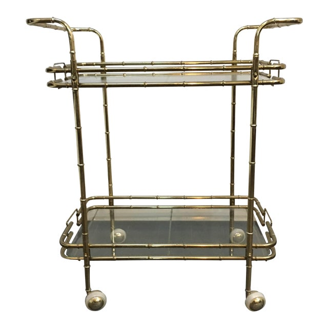 Brass Plated Mid Century Bamboo Bar Cart - Image 1 of 11