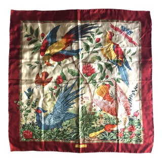 1990s Vintage Salvatore Ferragamo Flora & Fauna Motif Large Silk Ladies Scarf For Sale
