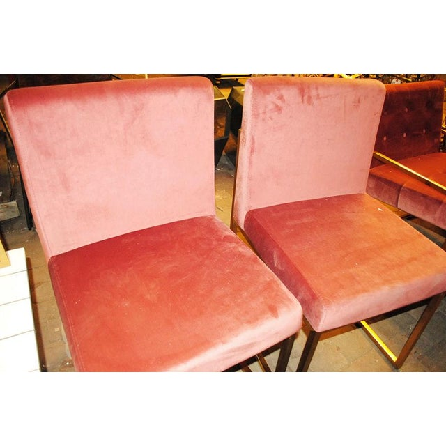 Time for glam. This set of 6 Hollywood Regency Dining Chairs is upholstered in pink rose velveteen with gold - brass tone...