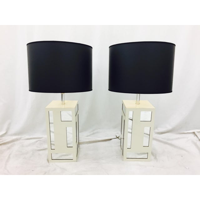 Stunning Vintage Mid Century Modern Hollywood Regency Style Mirrored Lamps. Beautiful clean lines with contemporary feel....