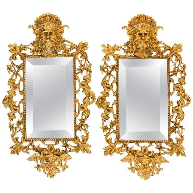Pair of Napoleon III Brass Neptune Motif Mirrors For Sale - Image 10 of 10