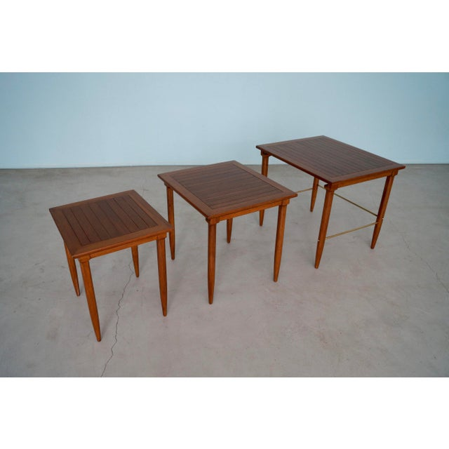Brass 1950s Mid-Century Modern Tomlinson Nesting Tables - Set of 3 For Sale - Image 7 of 13